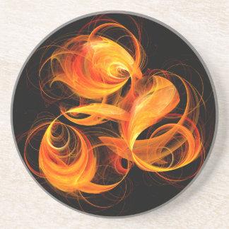 Fireball Abstract Art Sandstone Coaster