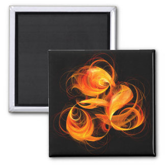 Fireball Abstract Art Square Magnet