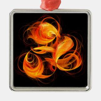 Fireball Abstract Art Square Silver-Colored Square Ornament