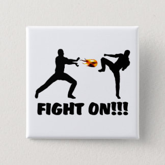 Fireball Gamer Fight On 2 Inch Square Button