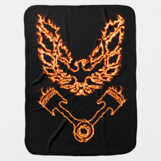 Firebird and horse power in flames baby blanket