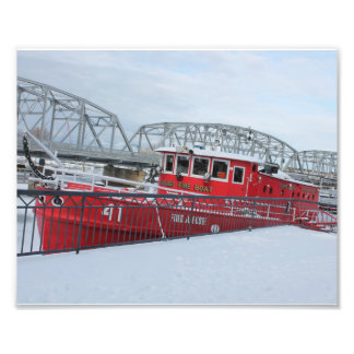 Fireboat in Winter Photography Print