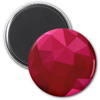 Firebrick Red Abstract Low Polygon Background 2 Inch Round Magnet