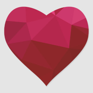 Firebrick Red Abstract Low Polygon Background Heart Sticker
