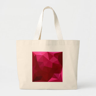 Firebrick Red Abstract Low Polygon Background Large Tote Bag
