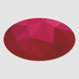 Firebrick Red Abstract Low Polygon Background Oval Sticker