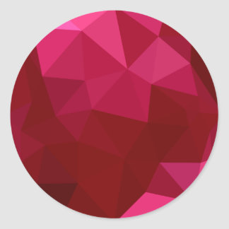 Firebrick Red Abstract Low Polygon Background Round Sticker