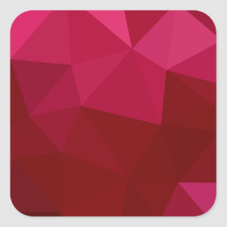 Firebrick Red Abstract Low Polygon Background Square Sticker