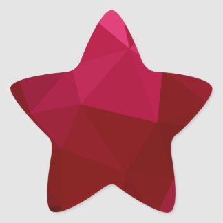 Firebrick Red Abstract Low Polygon Background Star Sticker
