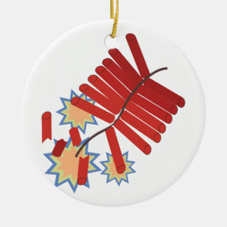 Firecrackers Ceramic Ornament