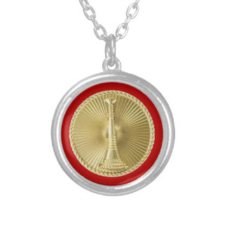 Firefighter 1 Bugle Medallion Silver Plated Necklace