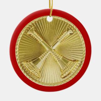 Firefighter 2 Bugle Medallion Ceramic Ornament