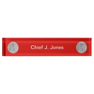 Firefighter 2 Bugle Silver Captain Medallion Nameplate