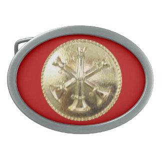 Firefighter 3 Bugle Gold Medallion Oval Belt Buckle