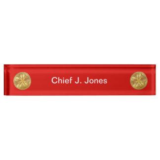Firefighter 5 Bugle Gold Medallion Name Plate