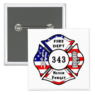 Firefighter 9/11 Never Forget 343 2 Inch Square Button