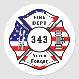 Firefighter 9/11 Never Forget 343 Classic Round Sticker