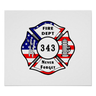 Firefighter 9 11 Never Forget 343 Print