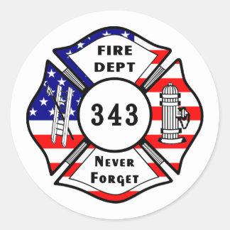 Firefighter 9/11 Never Forget 343 Round Sticker