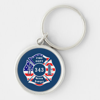Firefighter 9/11 Never Forget 343 Silver-Colored Round Keychain
