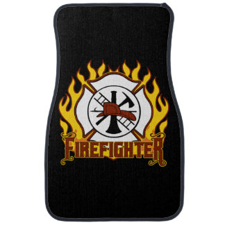 Firefighter Badge and Fire Car Mat