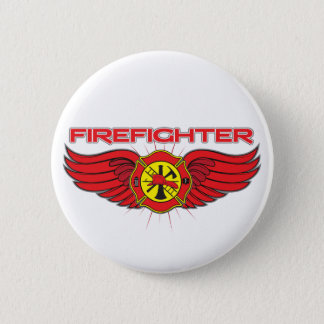 Firefighter Badge and Wings 2 Inch Round Button