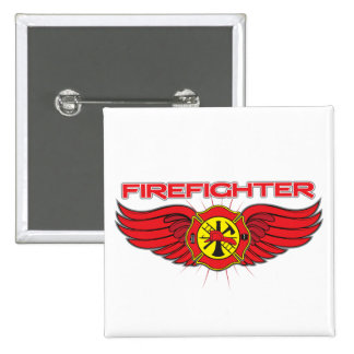 Firefighter Badge and Wings 2 Inch Square Button