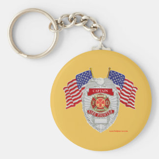 FireFighter_Badge_Captain Basic Round Button Keychain