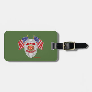 FireFighter_Badge_Captain Luggage Tag