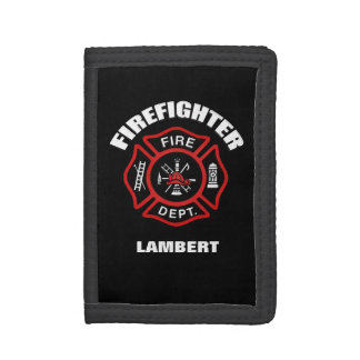 Firefighter Badge Name Template Trifold Wallet