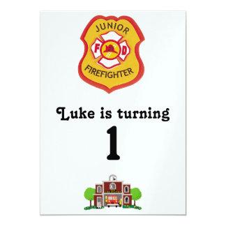 "firefighter birthday 5"" x 7"" invitation card"