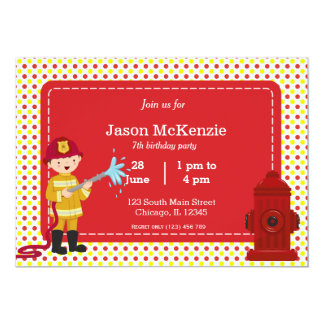 "Firefighter birthday boy 5"" x 7"" invitation card"
