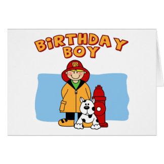 Firefighter Birthday Boy Note Card