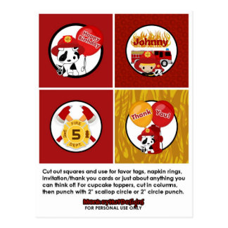 FIREFIGHTER Birthday Cupcake Topper Tags FF01C Postcard