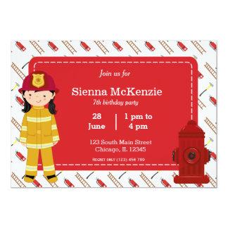 Firefighter birthday girl 5x7 paper invitation card