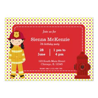 "Firefighter birthday girl 5"" x 7"" invitation card"