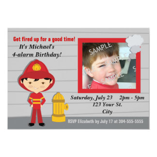 """Firefighter Birthday Party 5"""" X 7"""" Invitation Card"""