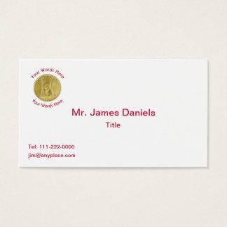 Firefighter Captain 2 Gold Bugle Medallion Business Card