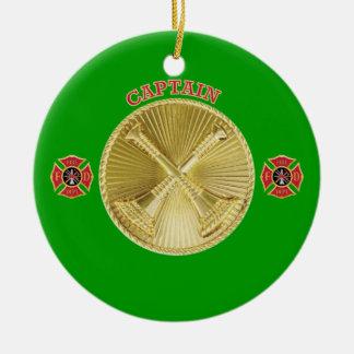 Firefighter Captain's Gold Bugle Medallion Ceramic Ornament
