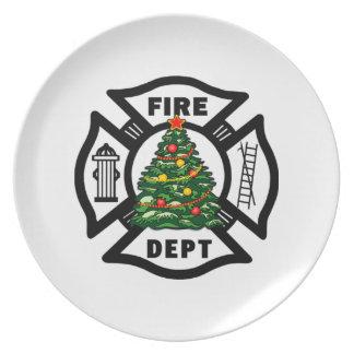 Firefighter Christmas Fire Dept Plate
