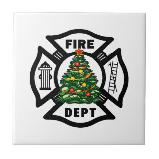 Firefighter Christmas Fire Dept Tile