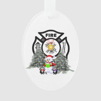 Firefighter Christmas Scene Ornament