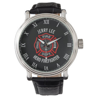 Firefighter Custom Text Name Personalized Watches