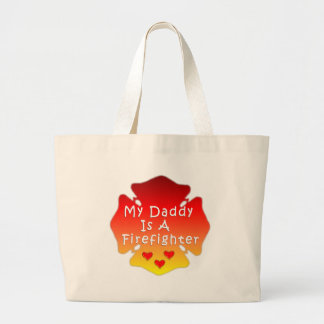 Firefighter Daddy Large Tote Bag