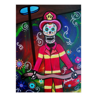 FIREFIGHTER DAY OF THE DEAD POSTER