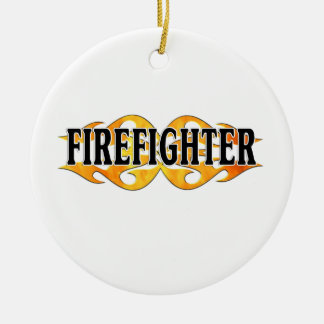 Firefighter Double Flames Ceramic Ornament