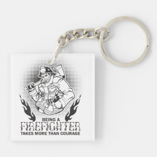Firefighter Double-Sided Square Acrylic Keychain