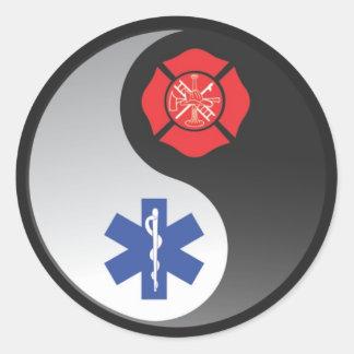 firefighter ems round sticker