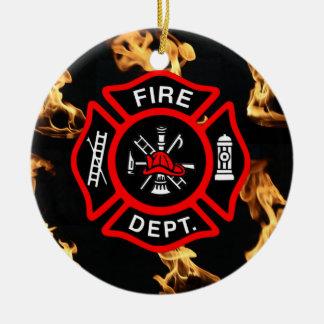 Firefighter EMT | Fireman Fire Dept Maltese Cross Round Ceramic Ornament