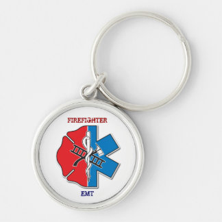 firefighter emt Silver-Colored round keychain